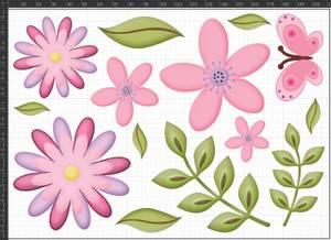 Bilde av A5 Tøymerker Rosa Blomster
